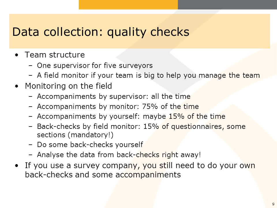 Data collection: quality checks