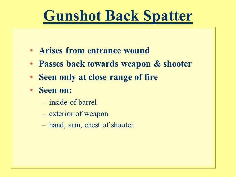 Gunshot Back Spatter Arises from entrance wound