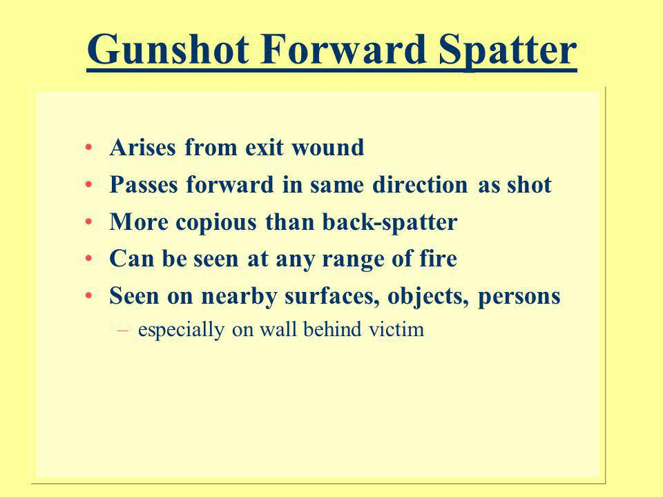 Gunshot Forward Spatter
