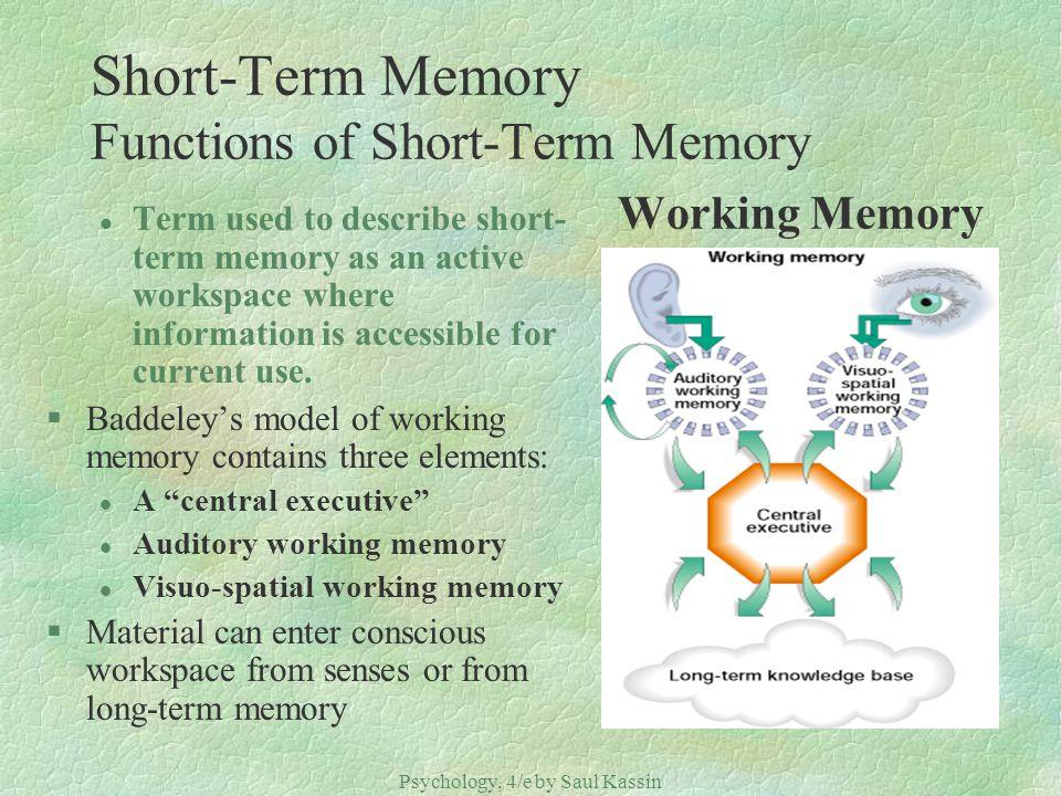 Short-Term Memory Functions of Short-Term Memory Working Memory
