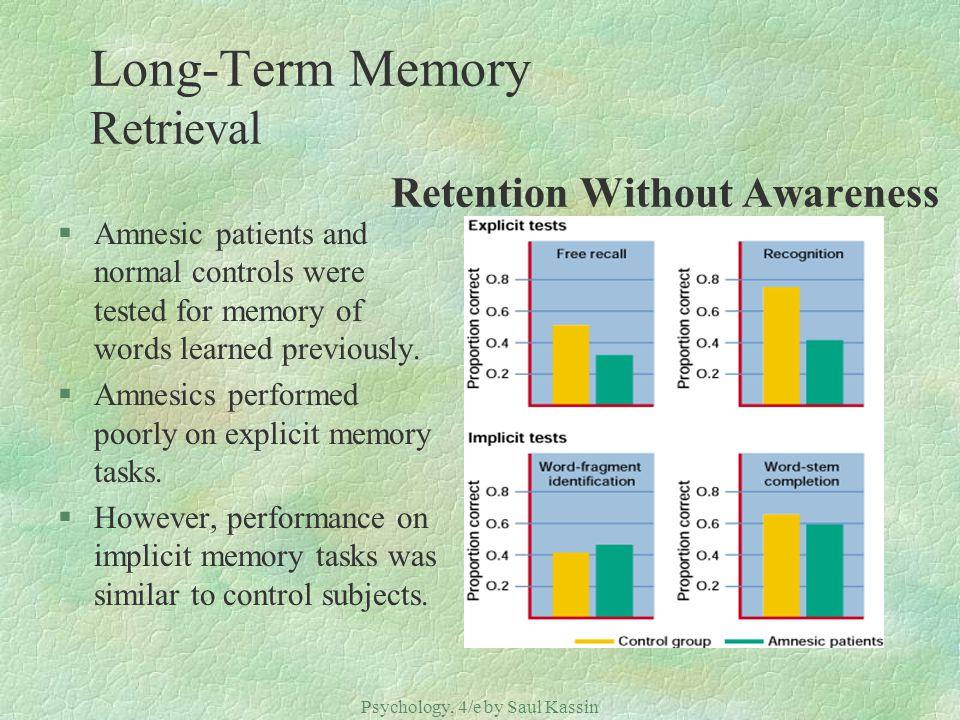 Long-Term Memory Retrieval Retention Without Awareness