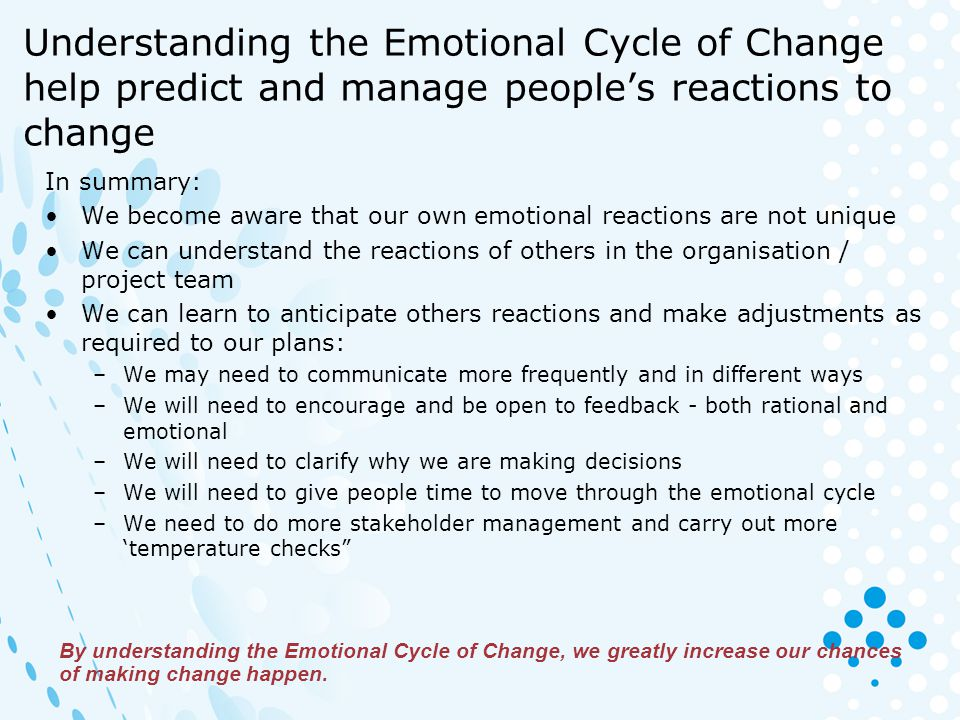 Understanding the Emotional Cycle of Change help predict and manage people's reactions to change