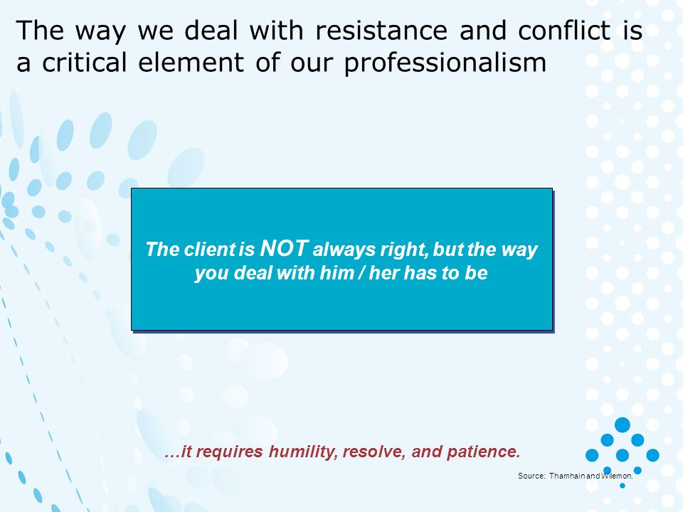 The way we deal with resistance and conflict is a critical element of our professionalism