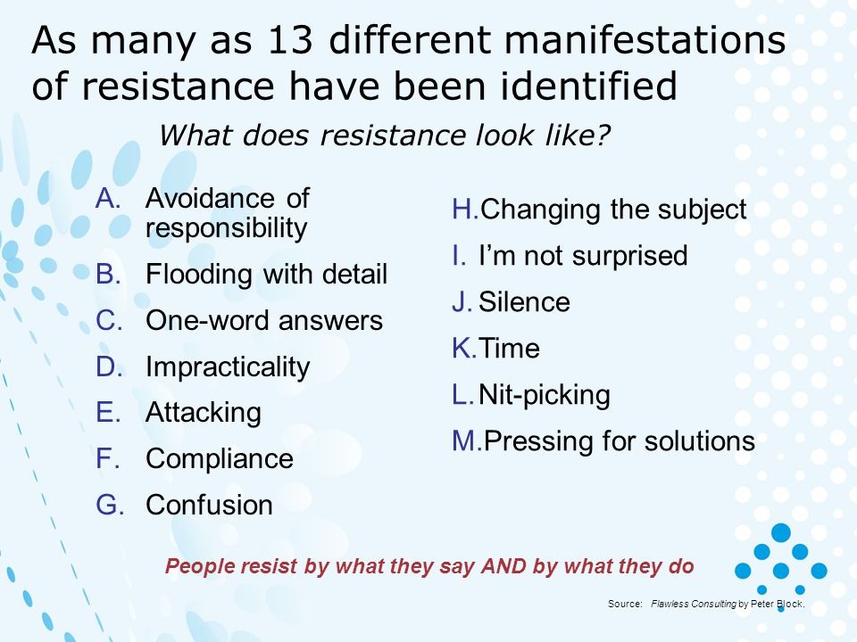 What does resistance look like