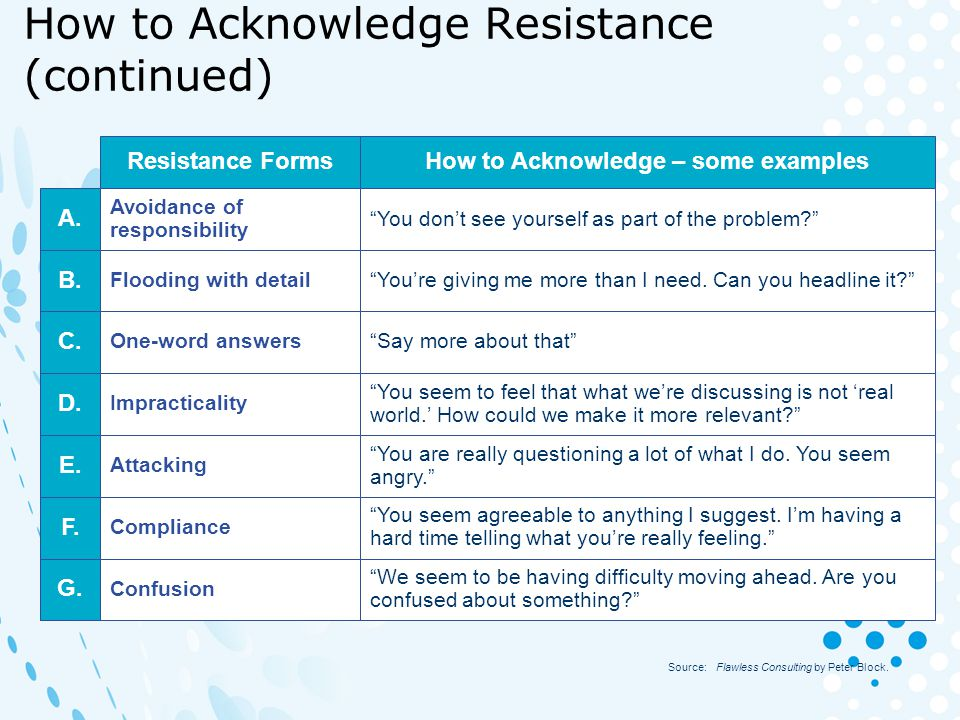 How to Acknowledge Resistance (continued)