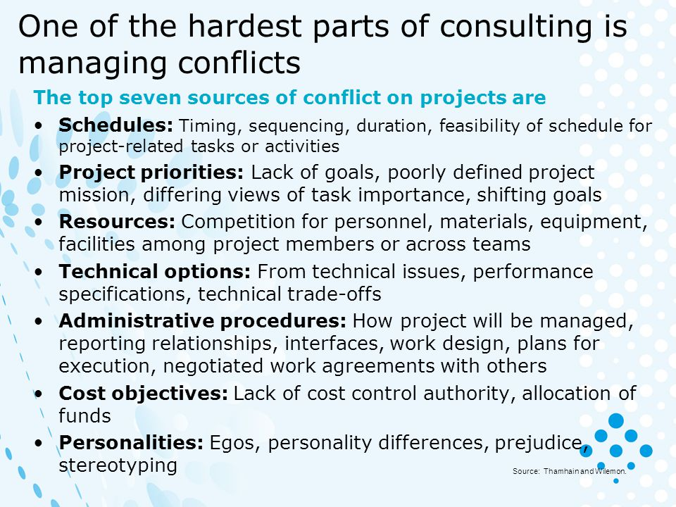 One of the hardest parts of consulting is managing conflicts