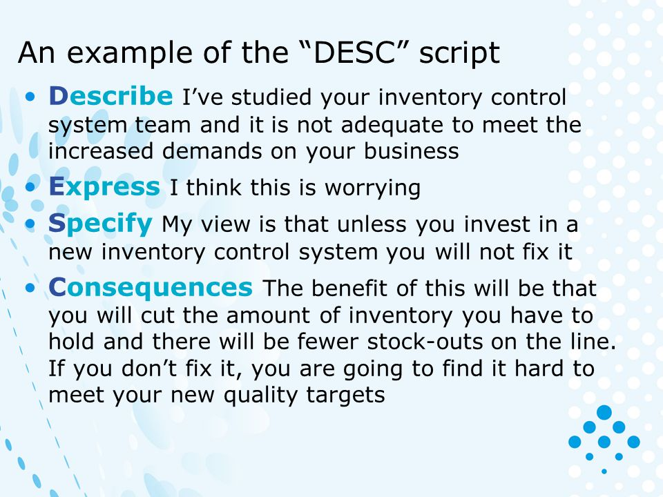 An example of the DESC script