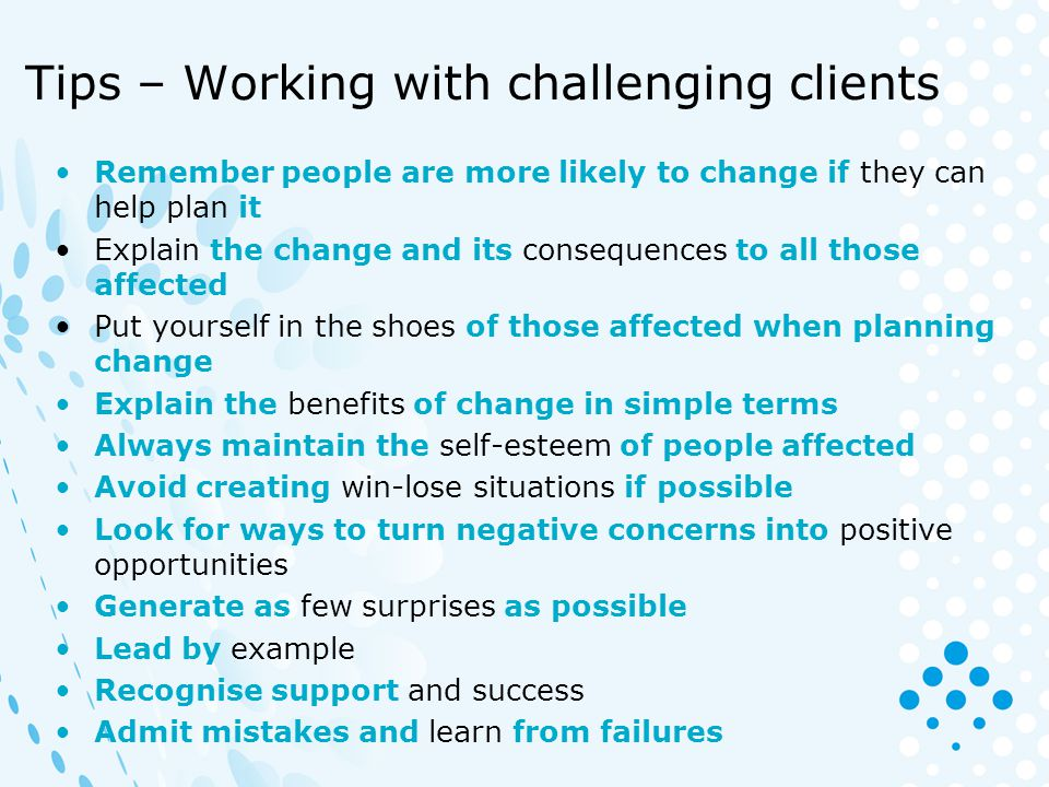 Tips – Working with challenging clients