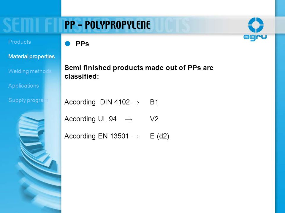 PP - POLYPROPYLENE Products. Material properties. Welding methods. Applications. Supply program.