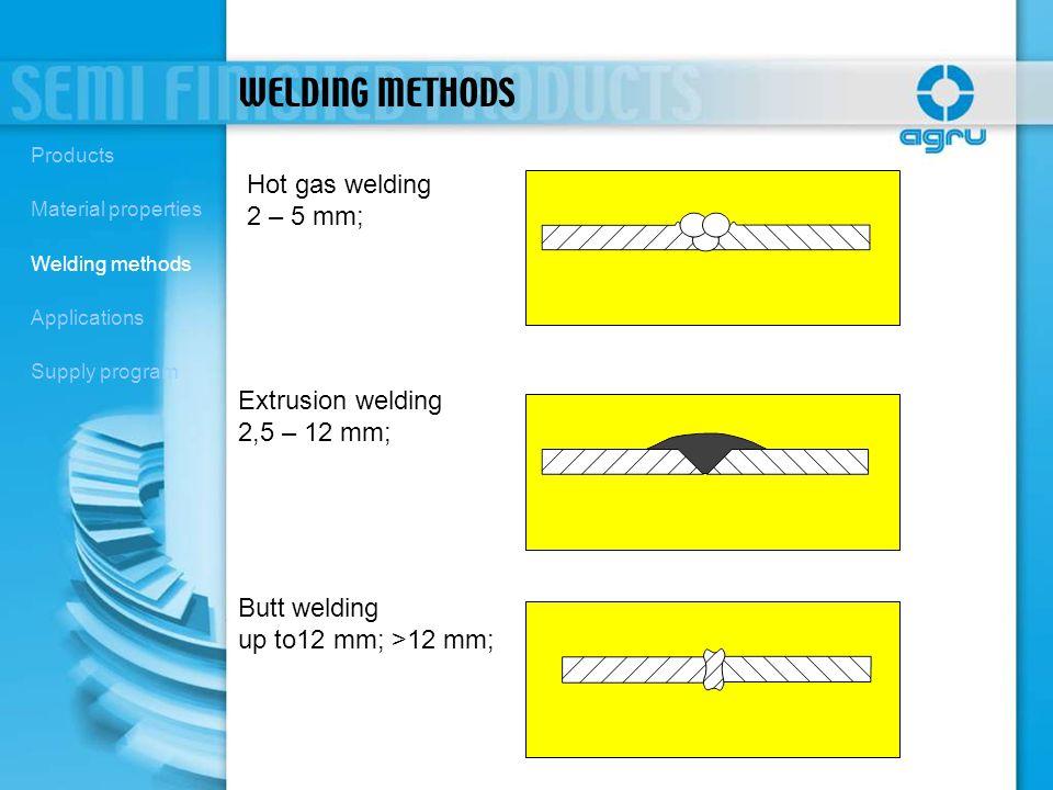 WELDING METHODS Hot gas welding 2 – 5 mm; Extrusion welding