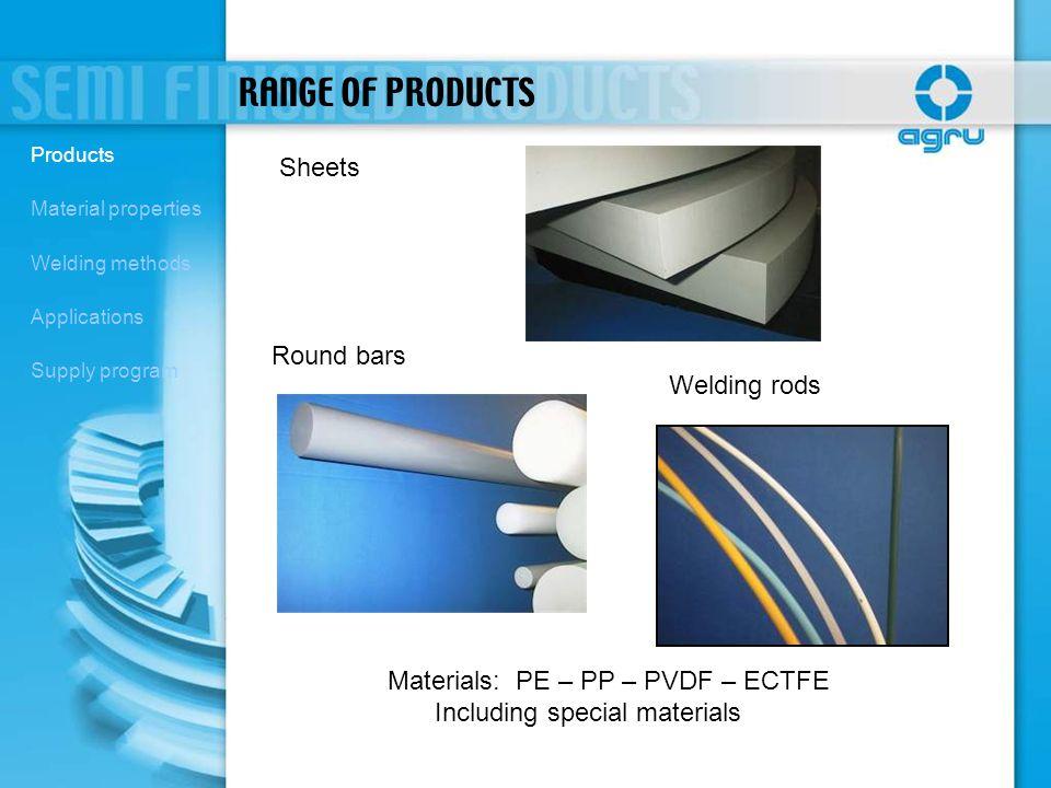 Materials: PE – PP – PVDF – ECTFE