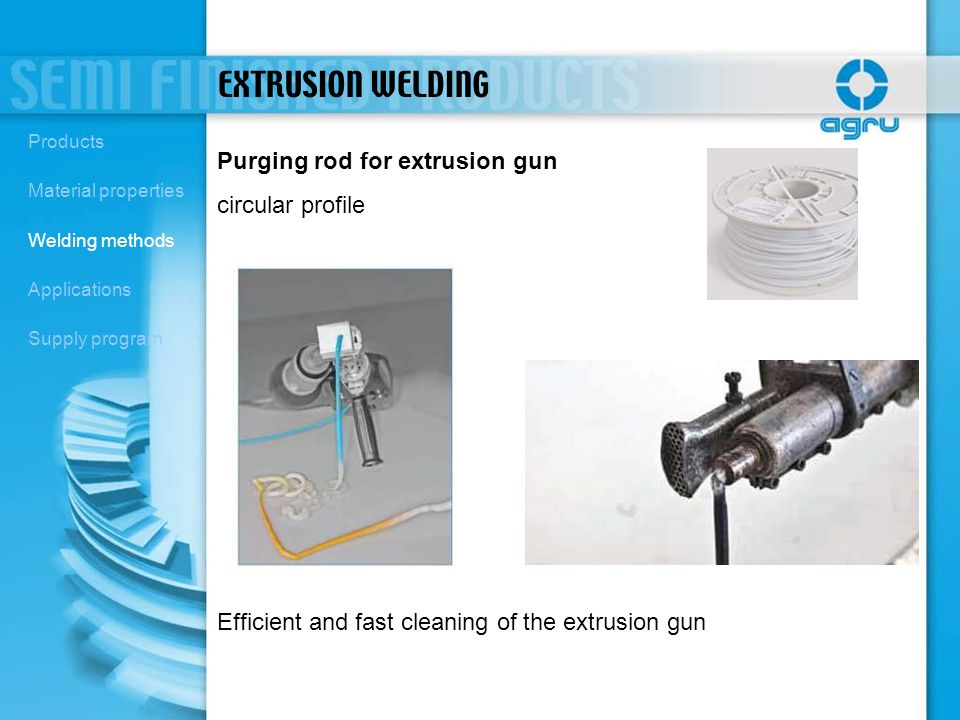 EXTRUSION WELDING Purging rod for extrusion gun circular profile
