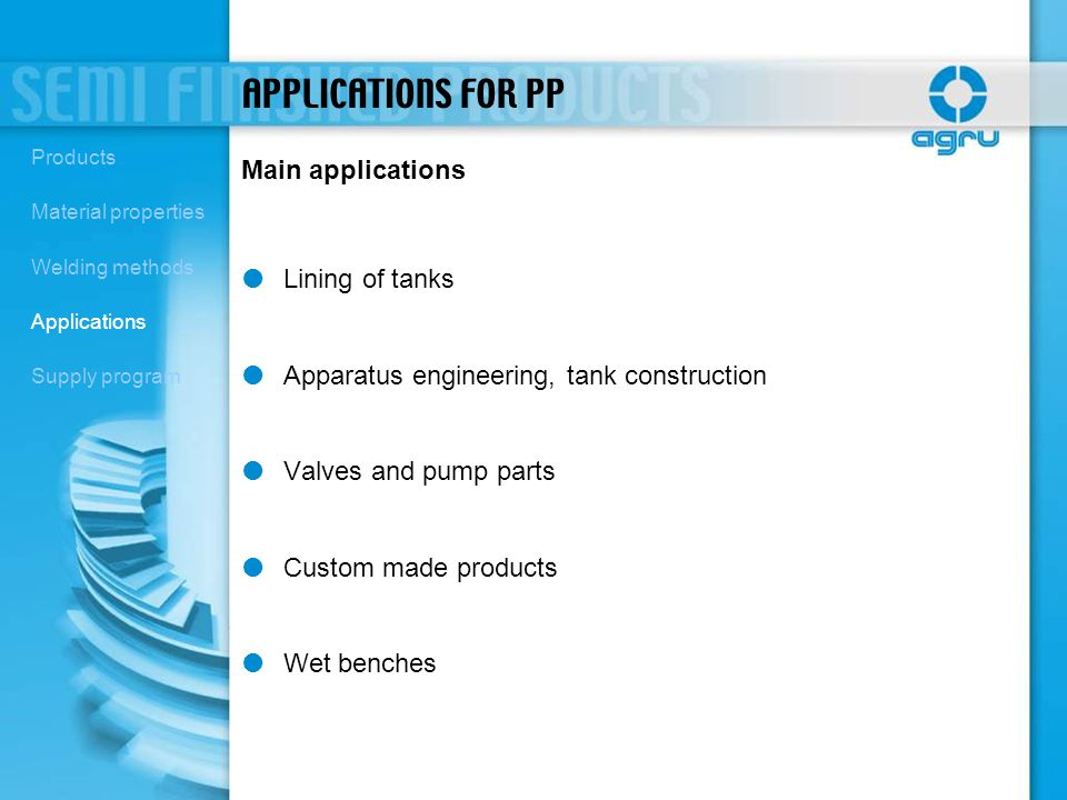 APPLICATIONS FOR PP Main applications Lining of tanks