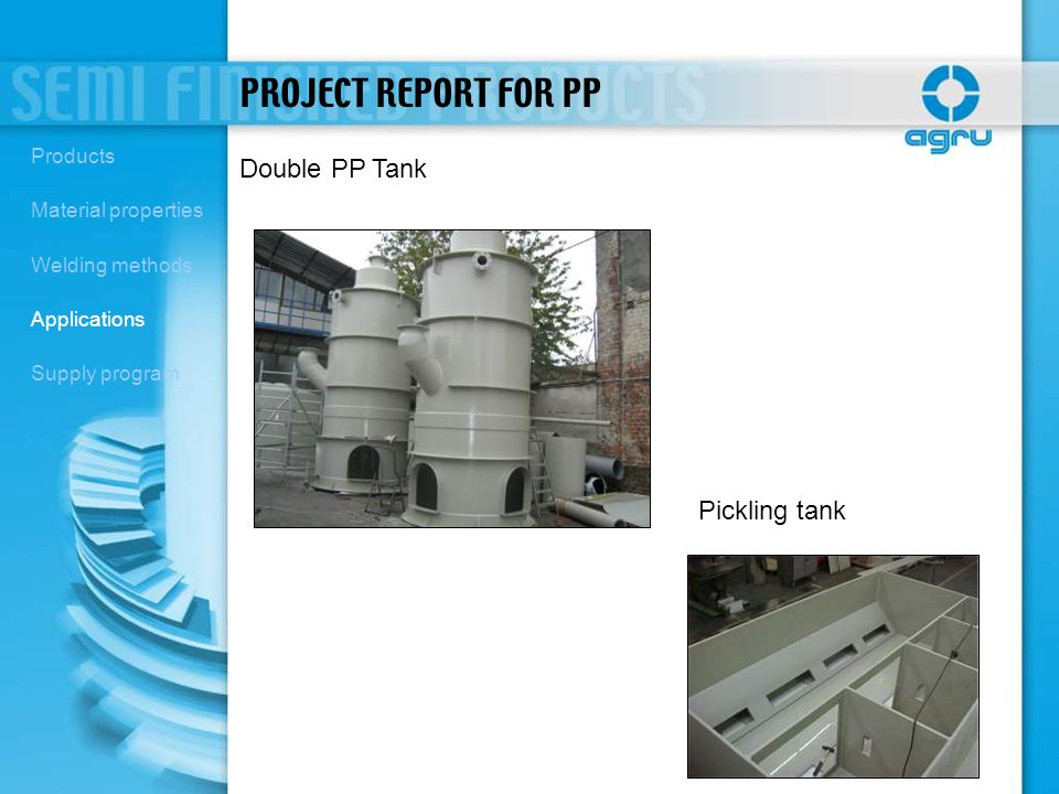 PROJECT REPORT FOR PP Double PP Tank Pickling tank Products