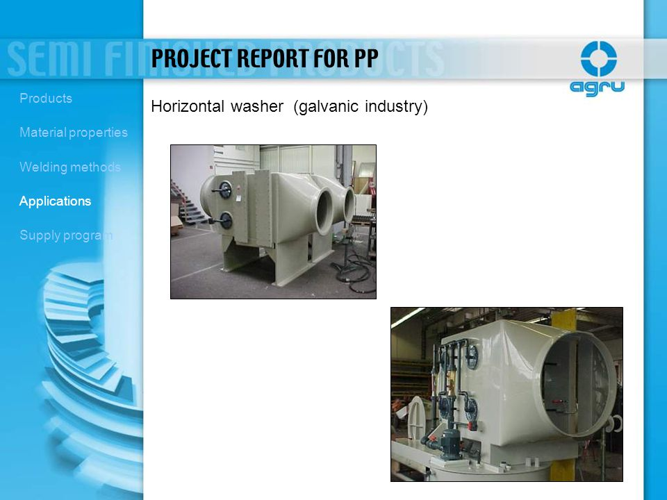 PROJECT REPORT FOR PP Horizontal washer (galvanic industry) Products
