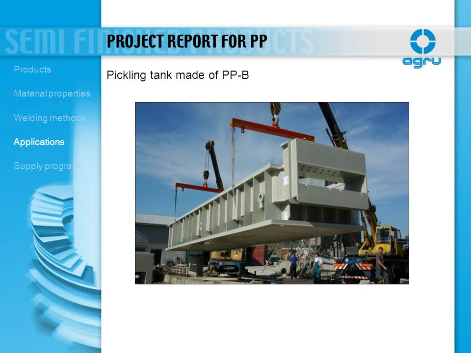 PROJECT REPORT FOR PP Pickling tank made of PP-B Products