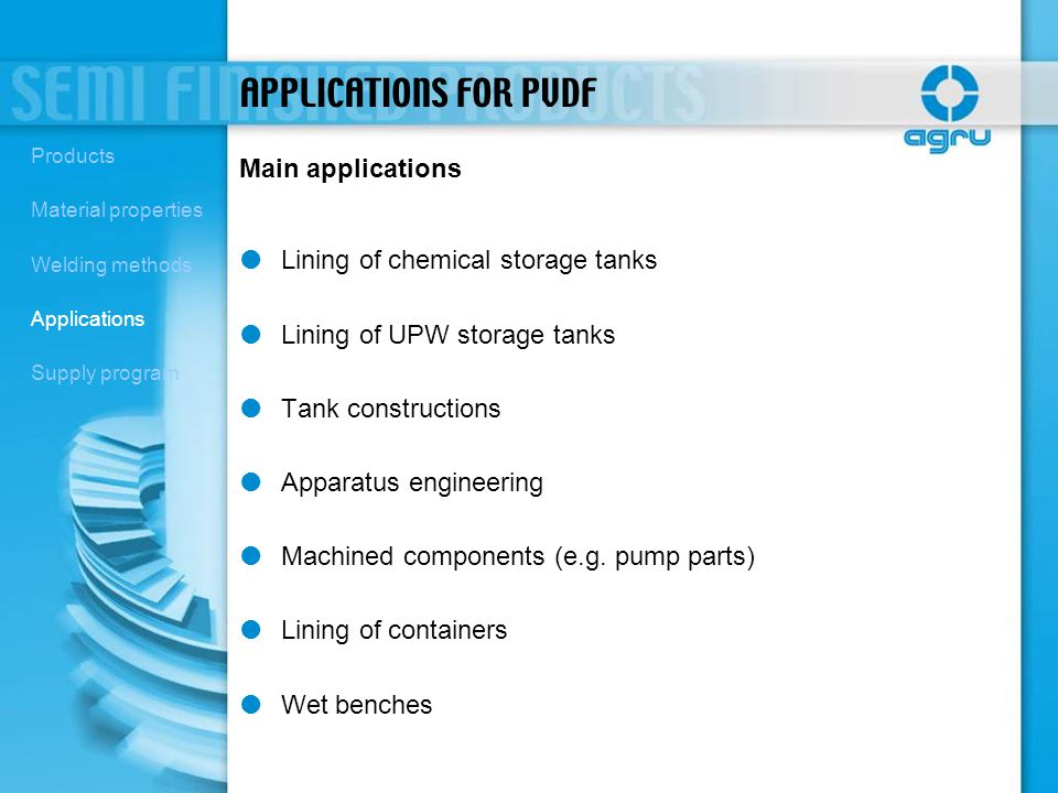 APPLICATIONS FOR PVDF Main applications