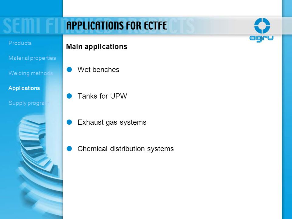APPLICATIONS FOR ECTFE