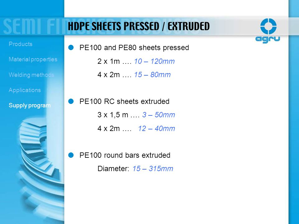 HDPE SHEETS PRESSED / EXTRUDED