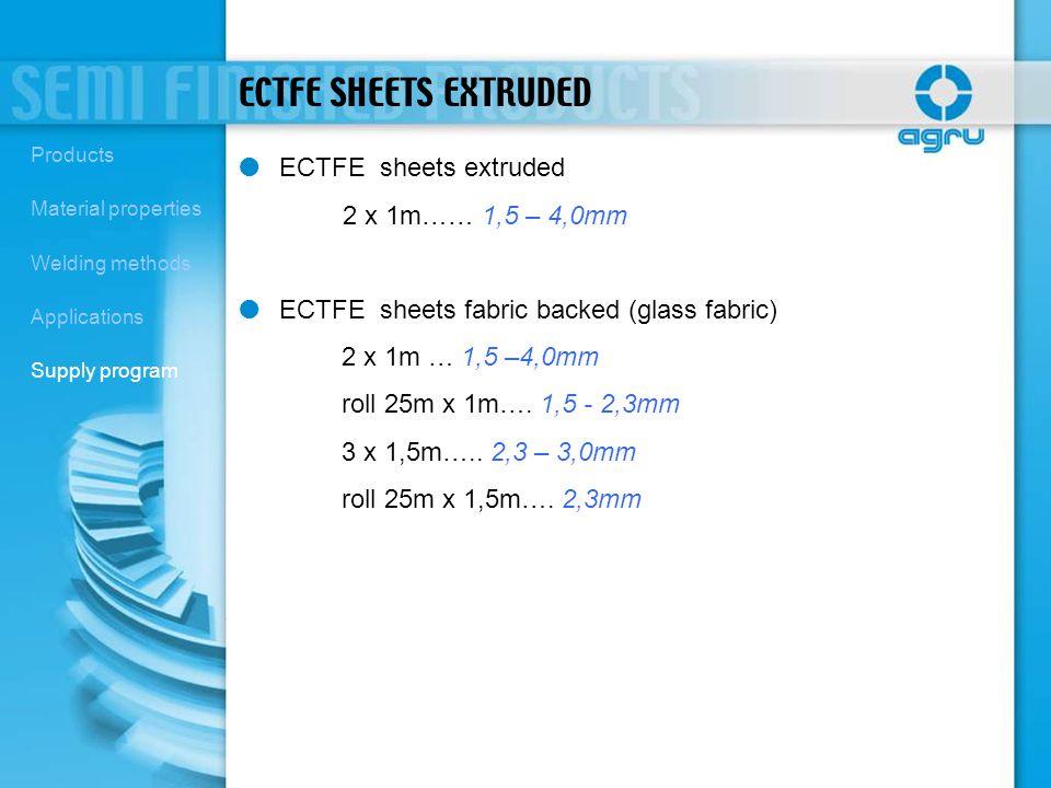 ECTFE SHEETS EXTRUDED ECTFE sheets extruded 2 x 1m…… 1,5 – 4,0mm