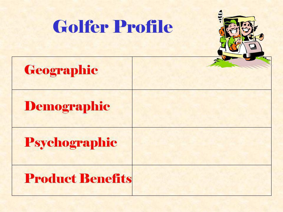 Golfer Profile Geographic Demographic Psychographic Product Benefits