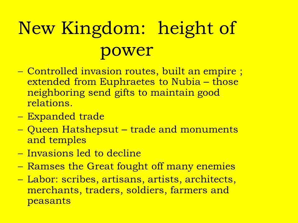 New Kingdom: height of power