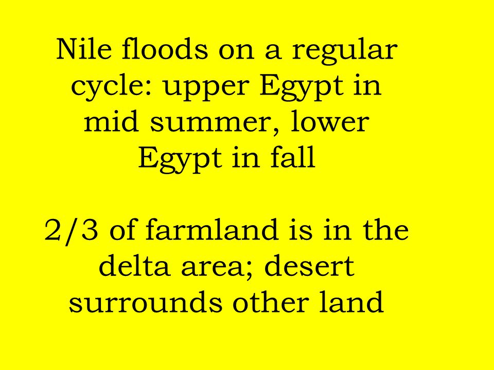 Nile floods on a regular cycle: upper Egypt in mid summer, lower Egypt in fall 2/3 of farmland is in the delta area; desert surrounds other land