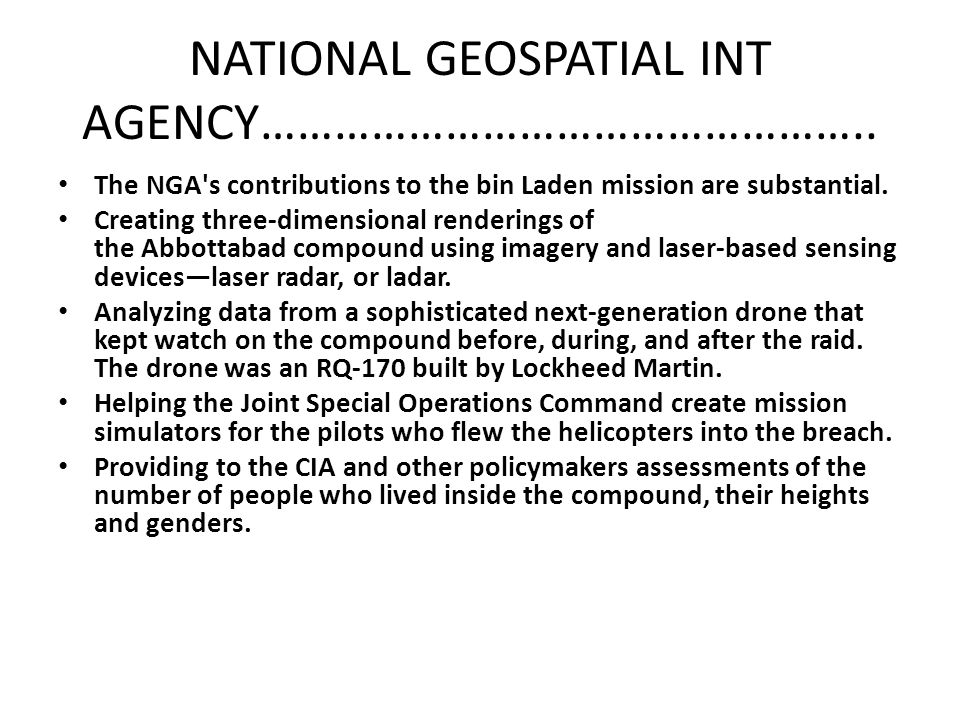 NATIONAL GEOSPATIAL INT AGENCY…………………………………………..