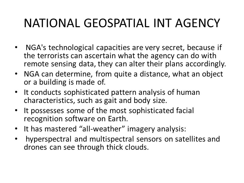 NATIONAL GEOSPATIAL INT AGENCY