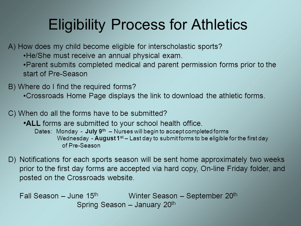 Eligibility Process for Athletics