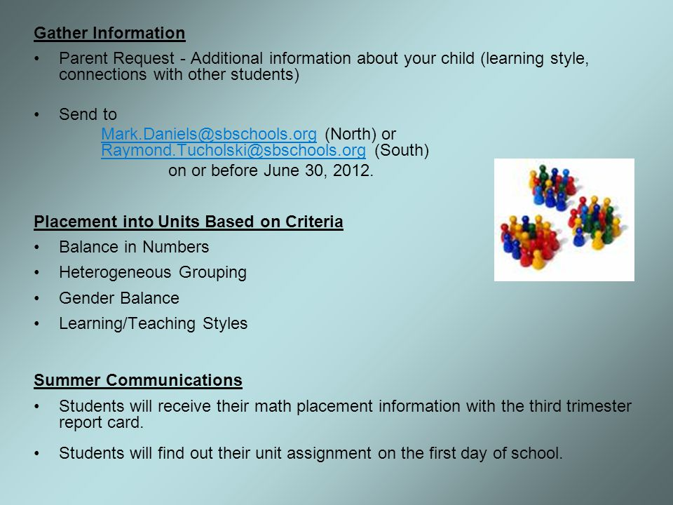 Gather Information Parent Request - Additional information about your child (learning style, connections with other students)