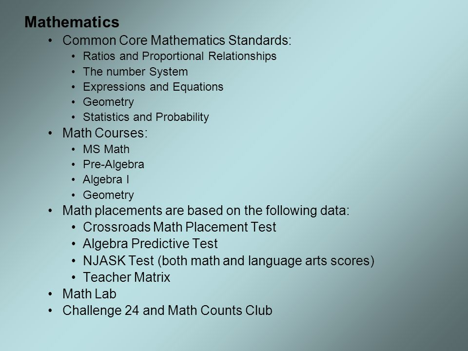 Mathematics Common Core Mathematics Standards: Math Courses: