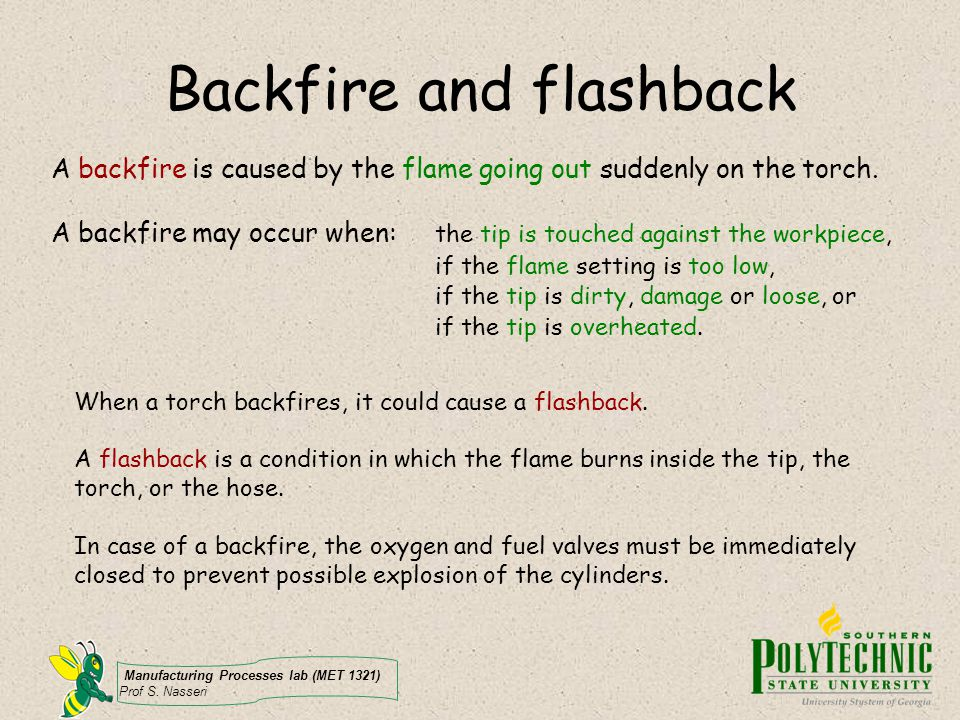 Backfire and flashback
