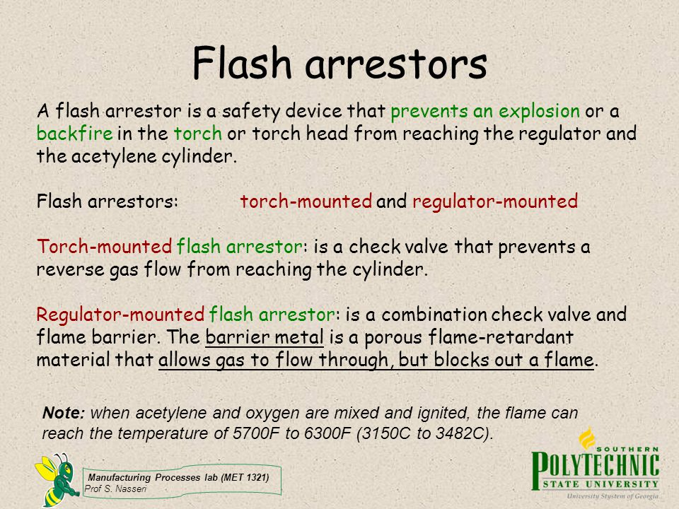 Flash arrestors