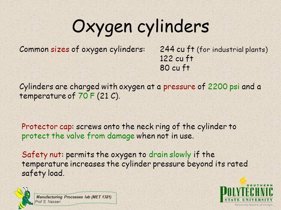 Oxygen cylinders Common sizes of oxygen cylinders: 244 cu ft (for industrial plants) 122 cu ft. 80 cu ft.