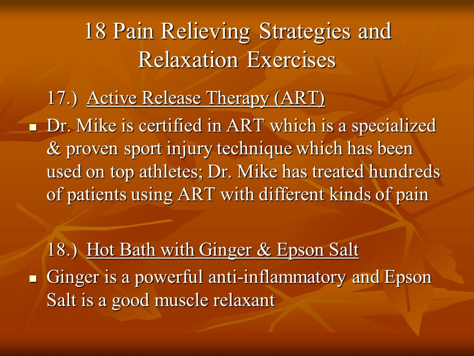 18 Pain Relieving Strategies and Relaxation Exercises