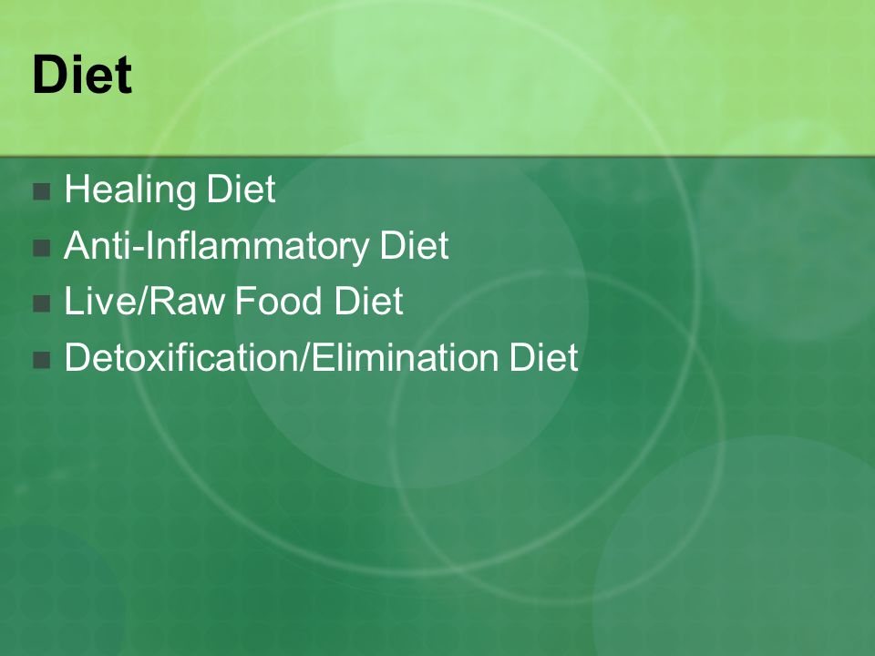 Diet Healing Diet Anti-Inflammatory Diet Live/Raw Food Diet