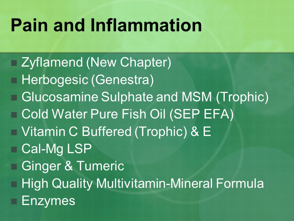 Pain and Inflammation Zyflamend (New Chapter) Herbogesic (Genestra)