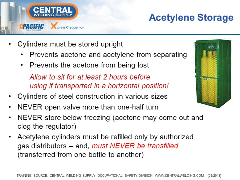 Acetylene Storage Cylinders must be stored upright