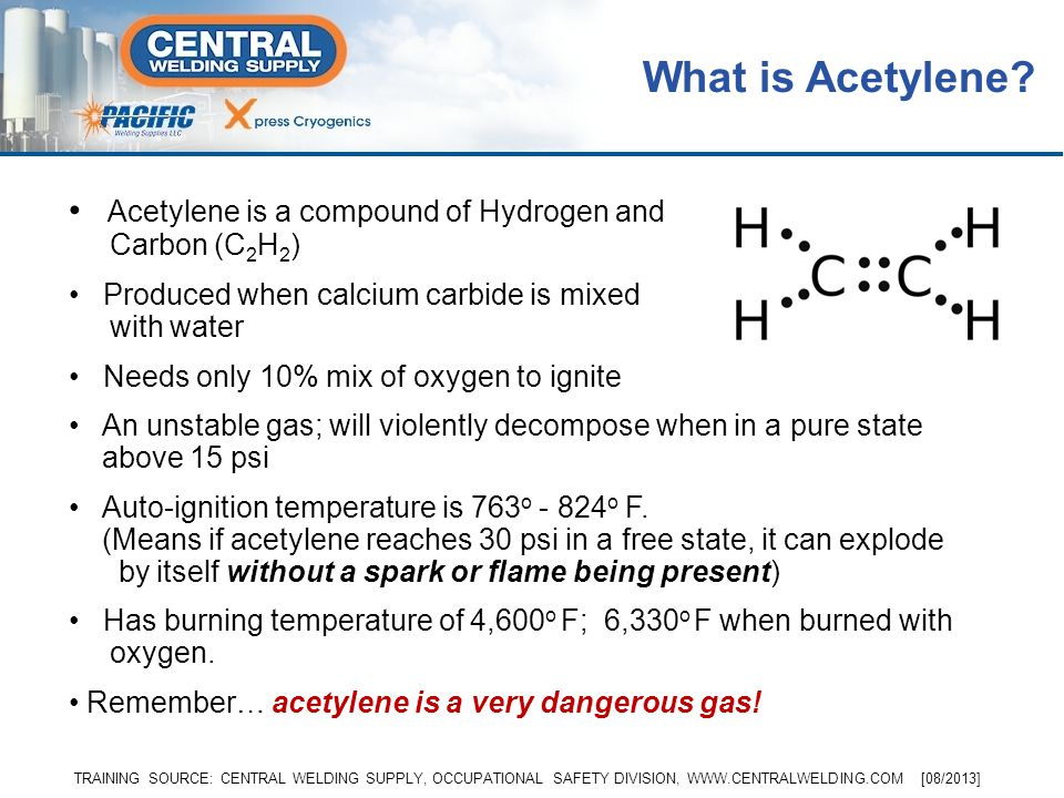 What is Acetylene Acetylene is a compound of Hydrogen and Carbon (C2H2) Produced when calcium carbide is mixed with water.