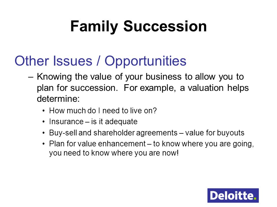 Family Succession Other Issues / Opportunities
