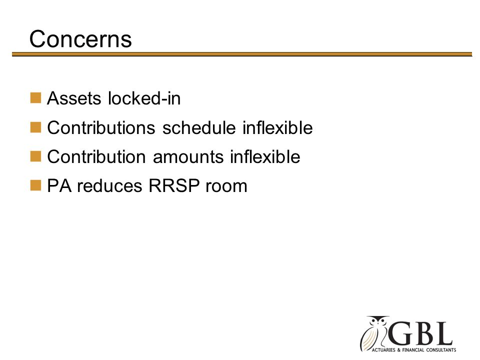 Concerns Assets locked-in Contributions schedule inflexible