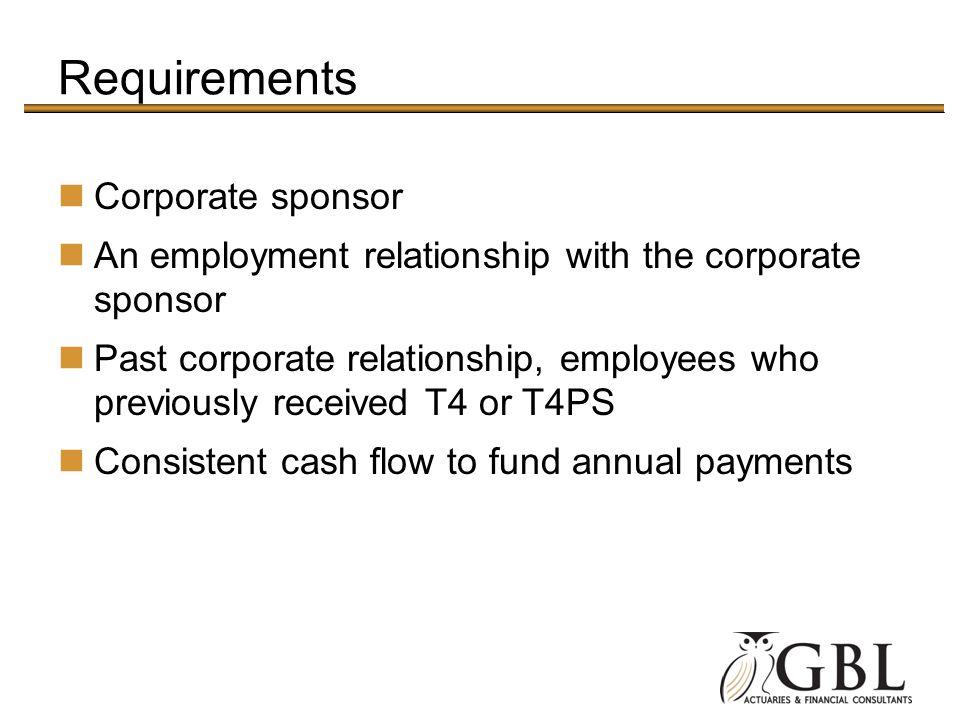 Requirements Corporate sponsor
