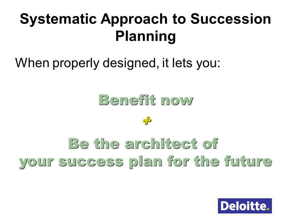 Systematic Approach to Succession Planning
