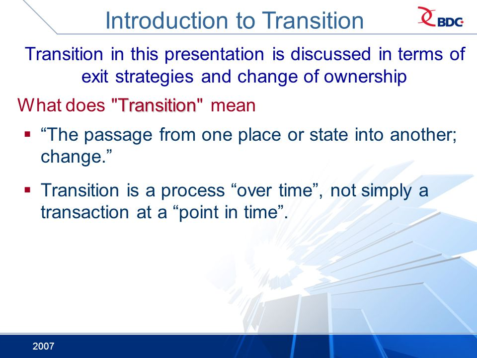 Introduction to Transition