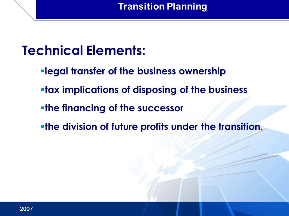 Technical Elements: Transition Planning