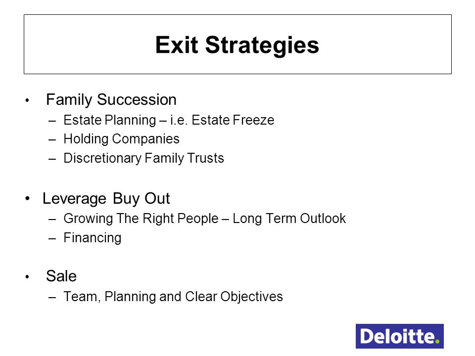 Exit Strategies Leverage Buy Out Family Succession