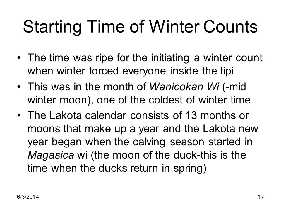 Starting Time of Winter Counts