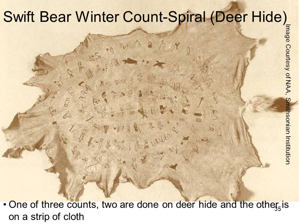 Swift Bear Winter Count-Spiral (Deer Hide)