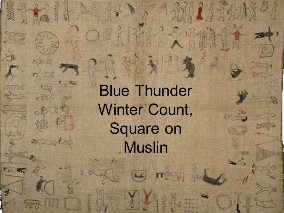 Blue Thunder Winter Count, Square on Muslin